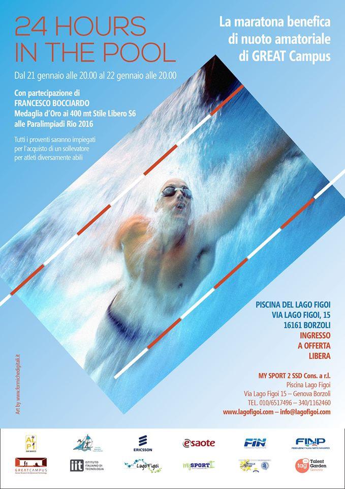 La locandina della 24 ore di nuoto